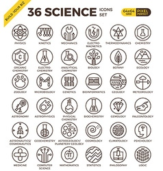Science education badge pixel perfect outline vector