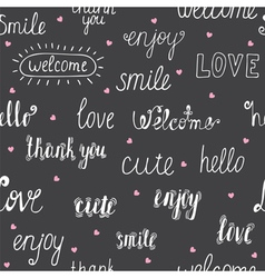 Seamless pattern with hand drawn words and pink vector image