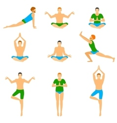 Set with a handsome man in various poses of yoga vector image