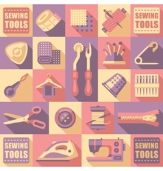 Sewing Tailoring and Needlework Decorative Icons vector