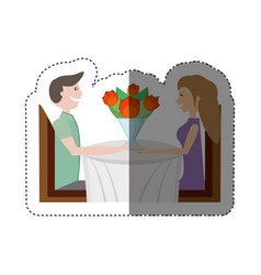 Sitting dating romantic lovely shadow vector