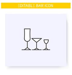 Stemware line icon editable vector