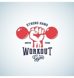 Strong Hand Workout Abstract Emblem Label vector image vector image