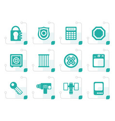 Stylized security and business icons vector
