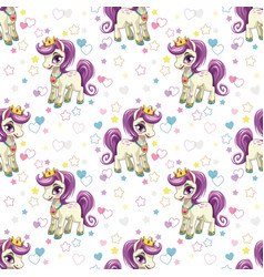 sweet pony print seamless pattern with cute vector image