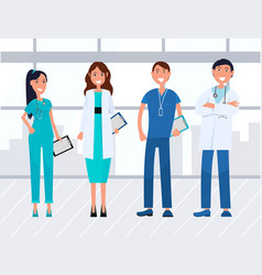 team medical workers hospital staff vector image