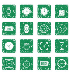 time and clock icons set grunge vector image
