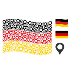Waving german flag collage of map marker items vector