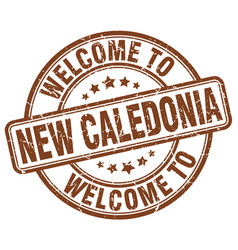 welcome to new caledonia brown round vintage stamp vector image
