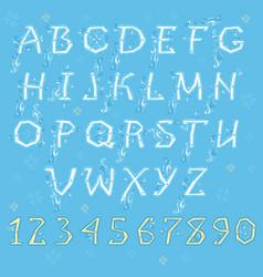 white winter alphabet vector image