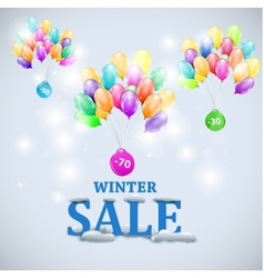 winter sale with colorful balloons vector image