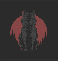 Wolf red moon illutration vector