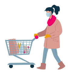 woman shopping in supermarket with trolley lady vector image