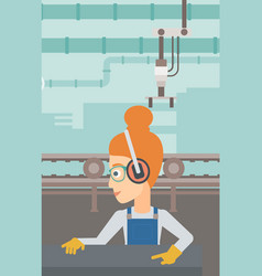 Woman working on steel-rolling mill vector