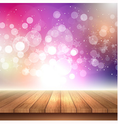Wooden table looking out to bokeh lights vector