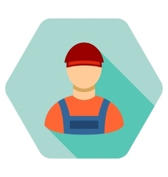 Worker Flat Hexagon Icon with Long Shadow vector