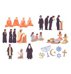 world religion icons set vector image