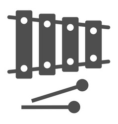 Xylophone glyph icon musical and percussion vector