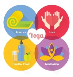 Yoga concept flat icons set vector image