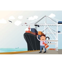 Cargo ship in port vector image