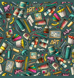 cartoon cute hand drawn artist seamless pattern vector image