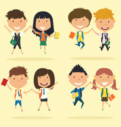 cheerful young boys and girls make a jump vector image vector image