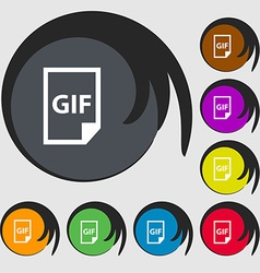 File GIF icon sign Symbols on eight colored vector image vector image
