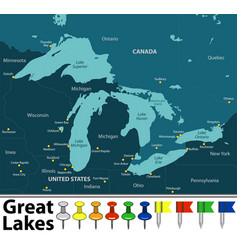 map of great lakes vector image