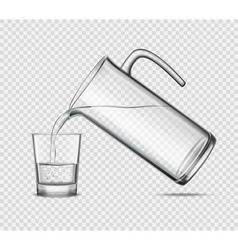 Pouring Water In Glass On Transparent Background vector image