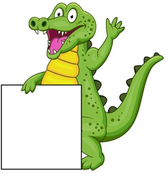 Crocodile cartoon with blank sign vector image vector image
