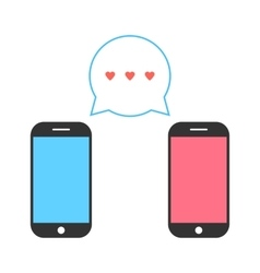 Pink and blue smartphones with double speech vector
