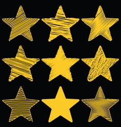 Set Of Hand Drawn Scribble Gold Stars Icon Set 1 vector image