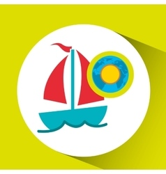 vacation around world sunny sailboat vector image vector image