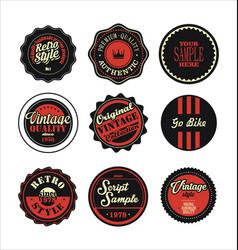 vintage labels black and red set 2 vector image