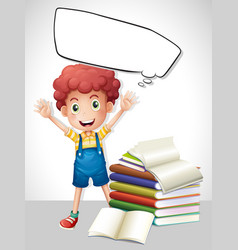 border template with boy and books vector image