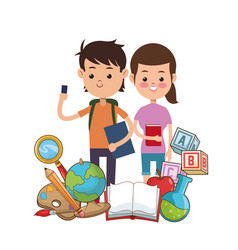 boy and girl puplis book globe bag palette pencil vector image
