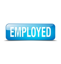 Employed blue square 3d realistic isolated web vector