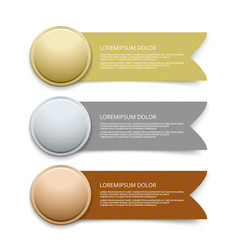 gold silver bronze medals with ribbon banners vector image