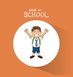 back to school student boy happy uniform tie vector image