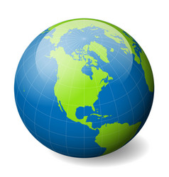 earth globe with green world map and blue seas and vector image vector image
