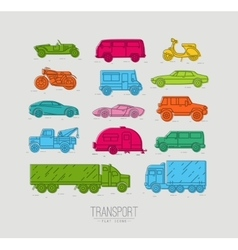 Flat transport icons color vector image vector image