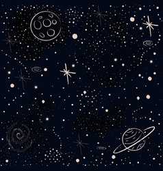 seamless cosmic pattern with stars planets rocket vector image