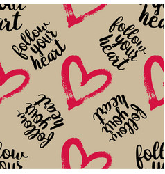 seamless pattern from pink hearts vector image