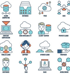 Set of flat linear cloud computing icons - part 1 vector image
