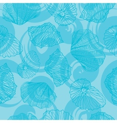 Shells and waves curls Seamless pattern vector image vector image