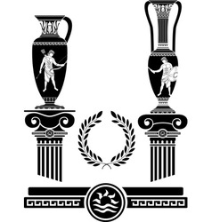 stencil of ancient columns and jugs vector image vector image