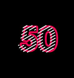 50 years anniversary line design logo template vector