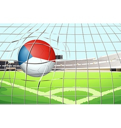 A ball at the field with the flag of Netherlands vector
