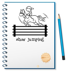 A notebook with a sketch of a boy riding a horse vector image