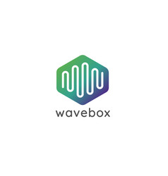 Abstract hexagonal box cube with audio wave vector